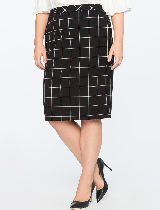 9-to-5 Windowpane Skirt