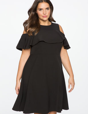 Cold Shoulder Ruffle Overlay Dress