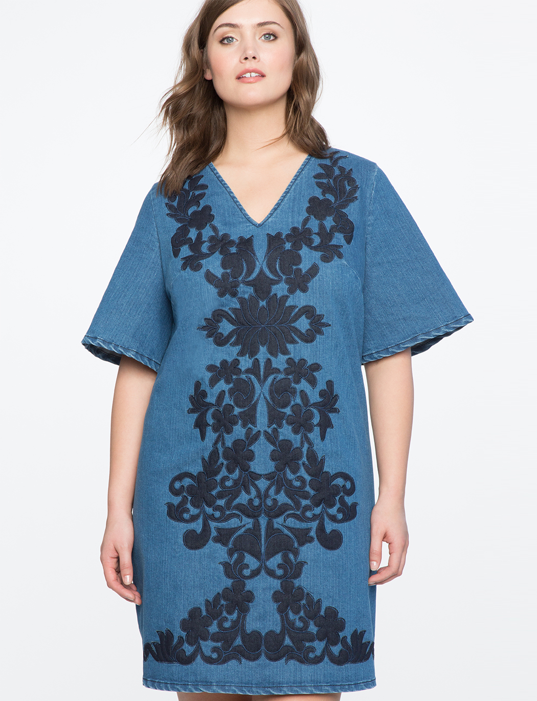 Embroidered a line denim dress women s plus size dresses