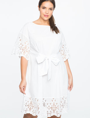 Tie Waist Eyelet Detail Dress