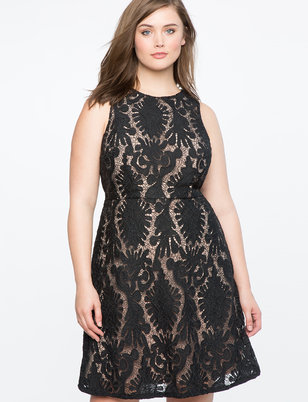 Sleeveless Lace Fit and Flare Dress