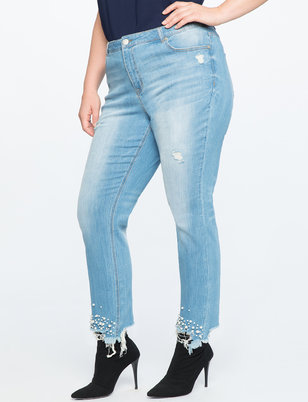 Distressed Pearl Hem Jeans