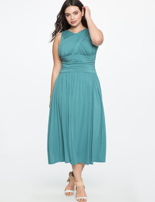 Ruched Cross Front Dress