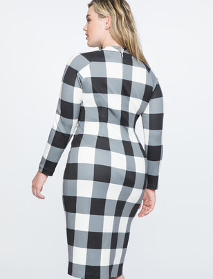 Gingham Shift Dress with Slit