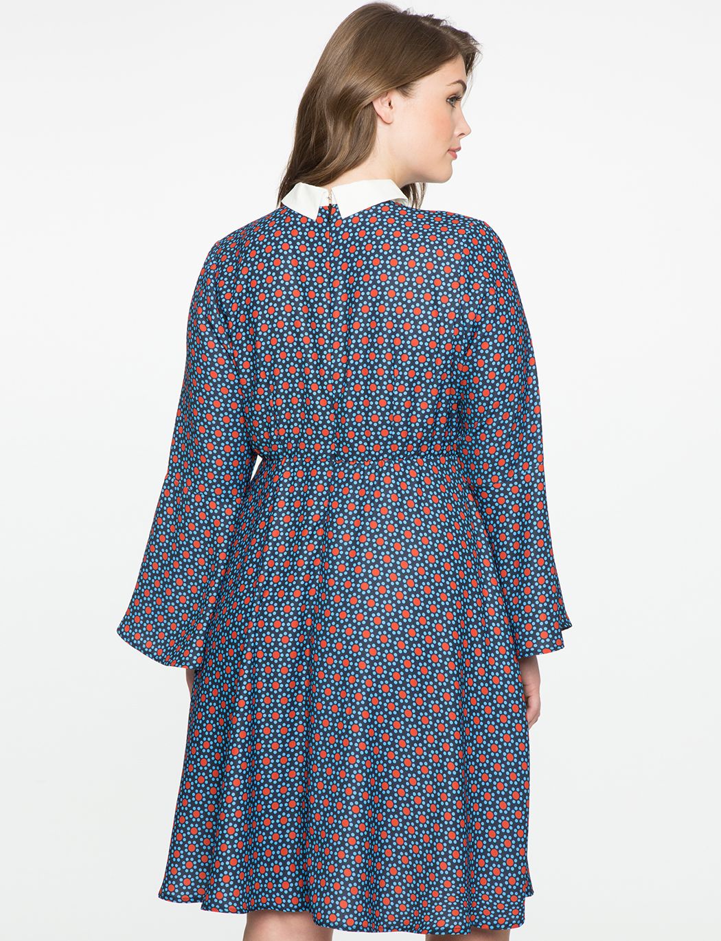Trumpet Sleeve Fit and Flare Dress