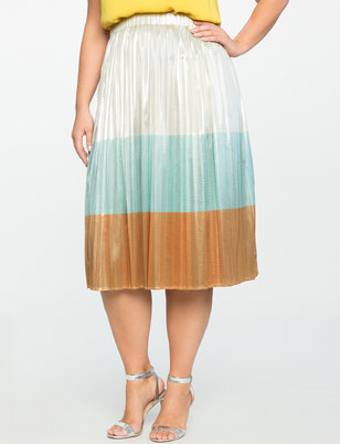 Studio Color Block Metallic Skirt
