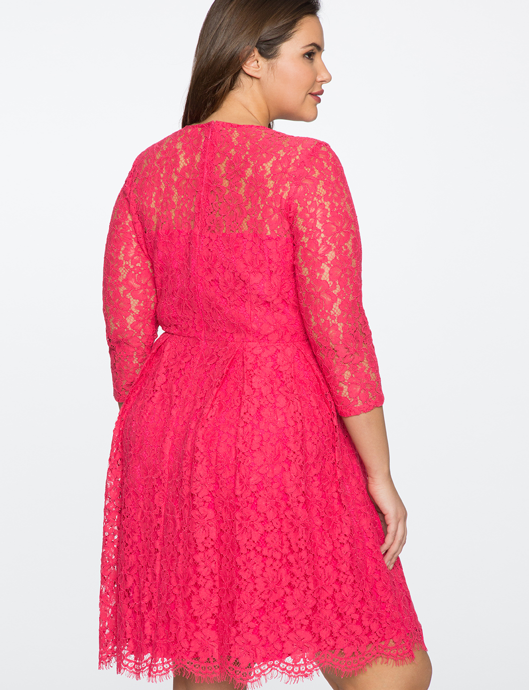 Lace Fit and Flare Dress with 3/4 Sleeves