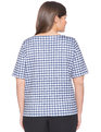 Gingham Boatneck Top Black Gingham