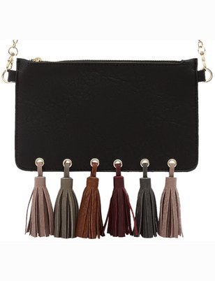 Multi Color Fringe Tassel Clutch