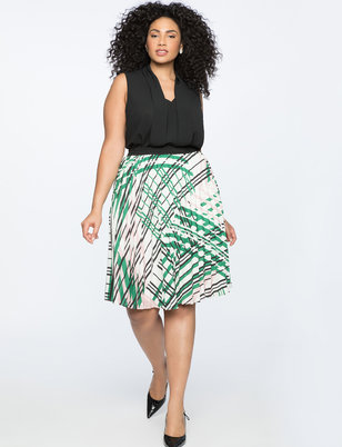 Printed Midi Skirt with Pleats