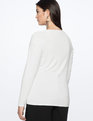 Gathered Shoulder Long Sleeve Tee Soft White