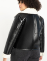 Shearling Faced Jacket Totally Black + Ecru