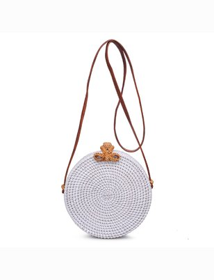 Circle Rattan Shoulder Bag
