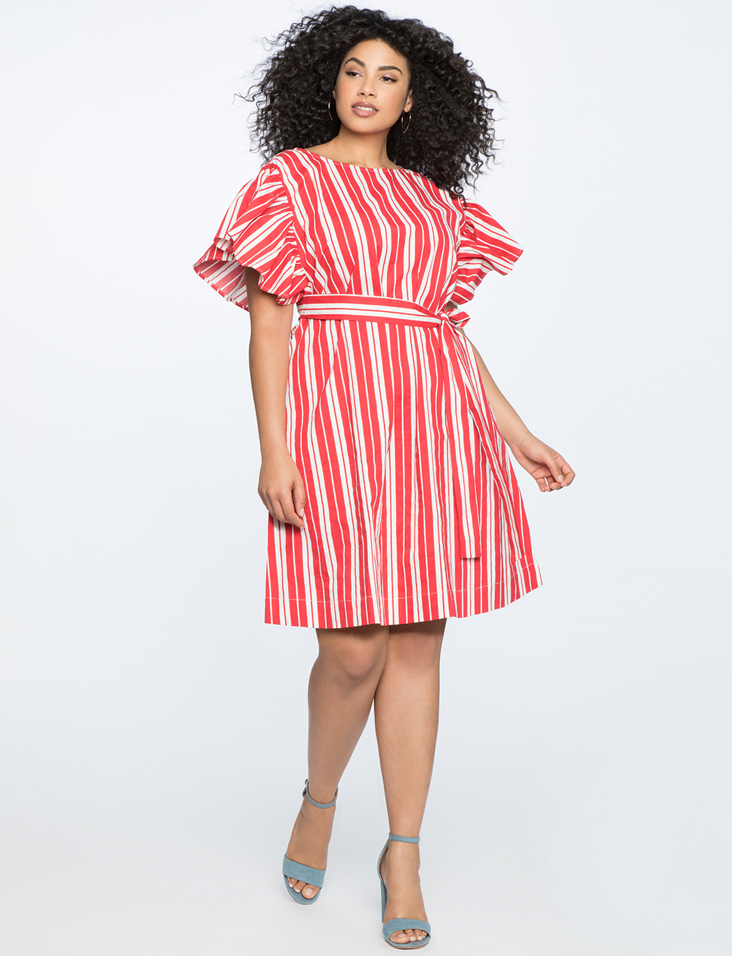 Printed Flutter Sleeve Belted Dress