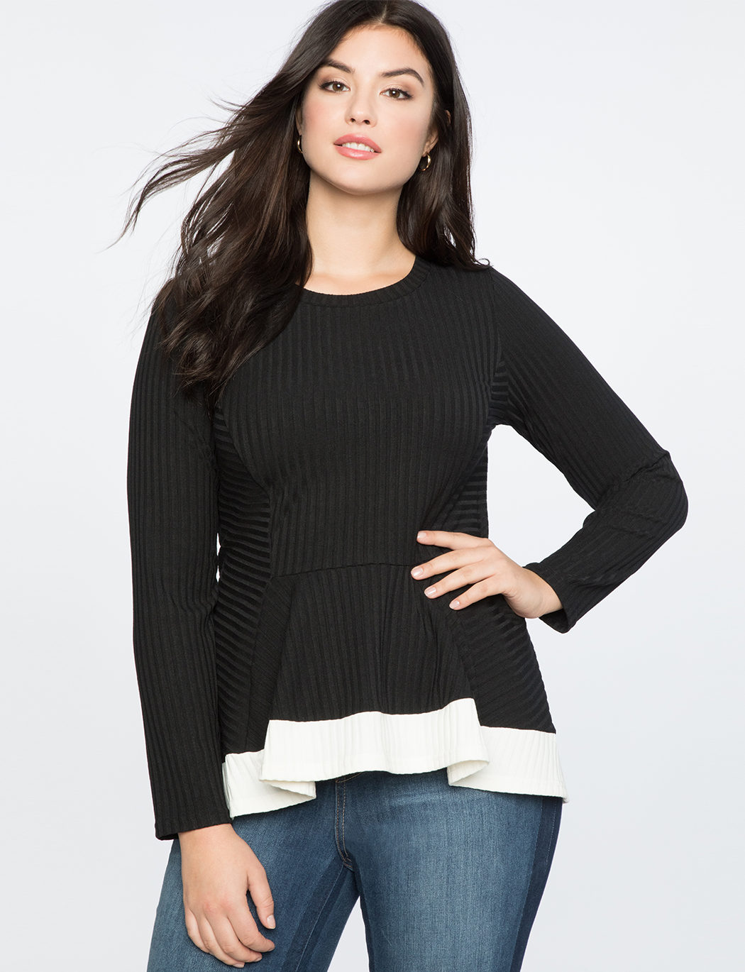 b55c79ab75a Ribbed Long Sleeve Top with Contrast Trim | Women's Plus Size Tops ...