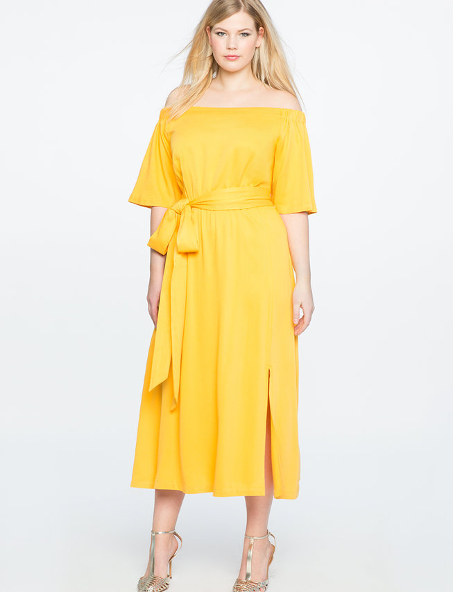 Off The Shoulder Midi Dress With Wrap Skirt Womens Plus Size