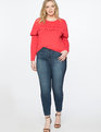 Ruffled Yoke Long Sleeve Tee Cherry Fizz