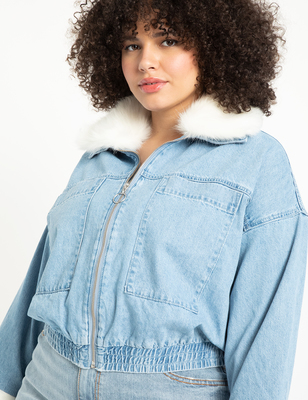 Crop Denim Jacket with Faux Fur Collar