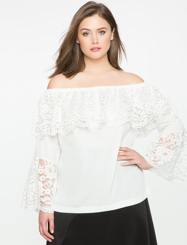 Lace Overlay Off the Shoulder Blouse