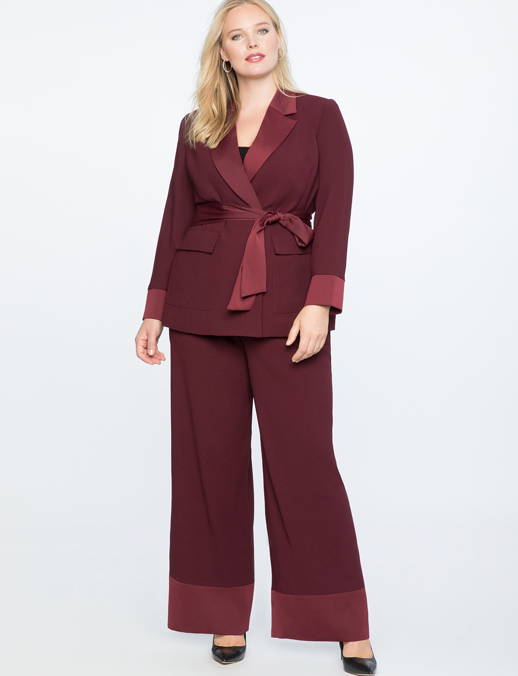 Wide Leg Satin Cuff Trouser