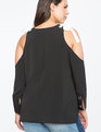 Cold Shoulder Grommet Sleeve Top Black