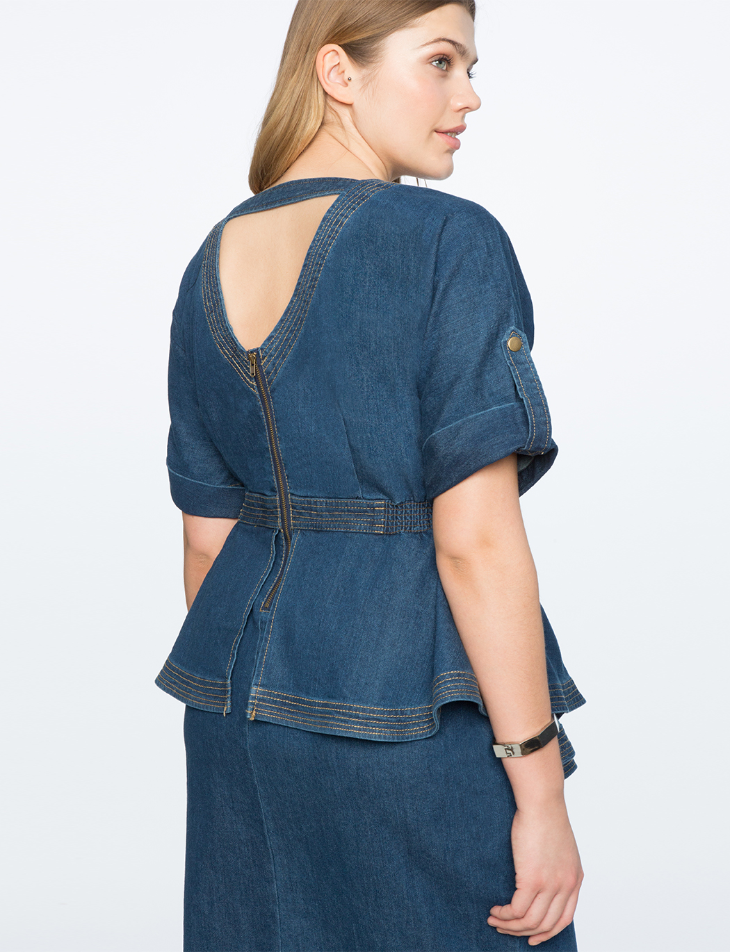 Denim Dress with Peplum Detail