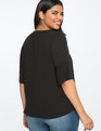 V-Neck Top with Button Sleeve Detail BLACK