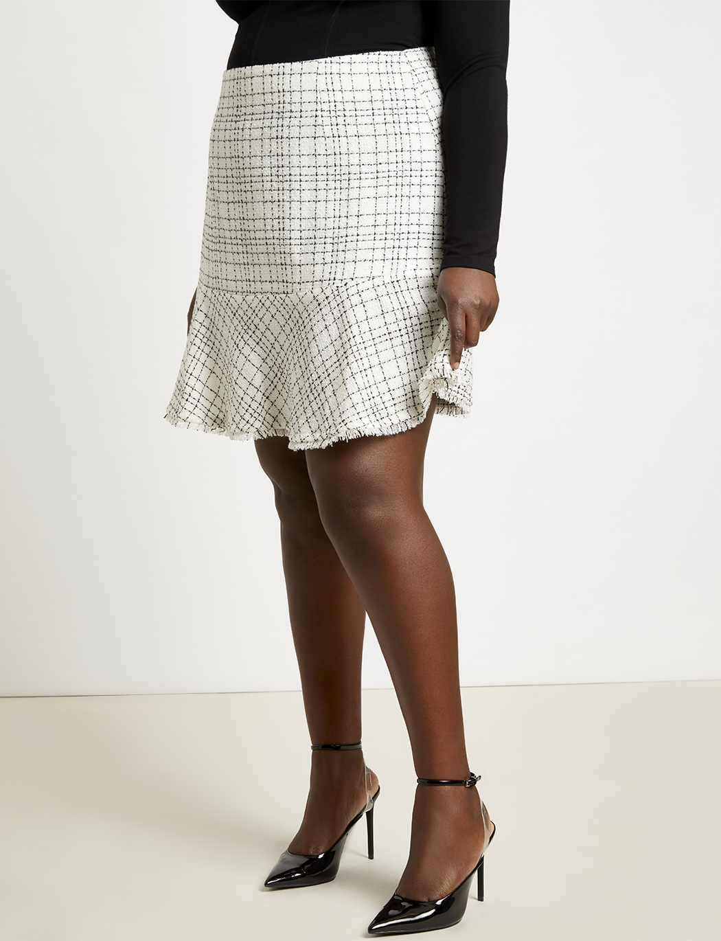 Tweed Skirt with Flounce