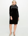 Velvet Dress with Faux Leather Detail Black