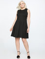 Fit and Flare Dress with Bow Back Detail BLACK