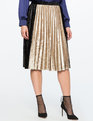 Pleated Velvet Midi Skirt with Color Block Detail BLACK + GOLD