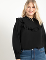 Easy Blouse with Ruffle Yoke Black