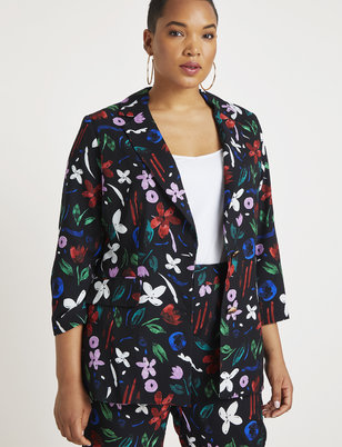 Printed Two Button Blazer