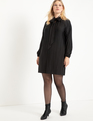 Pleated Knit Tie Neck Mini Dress Totally Black