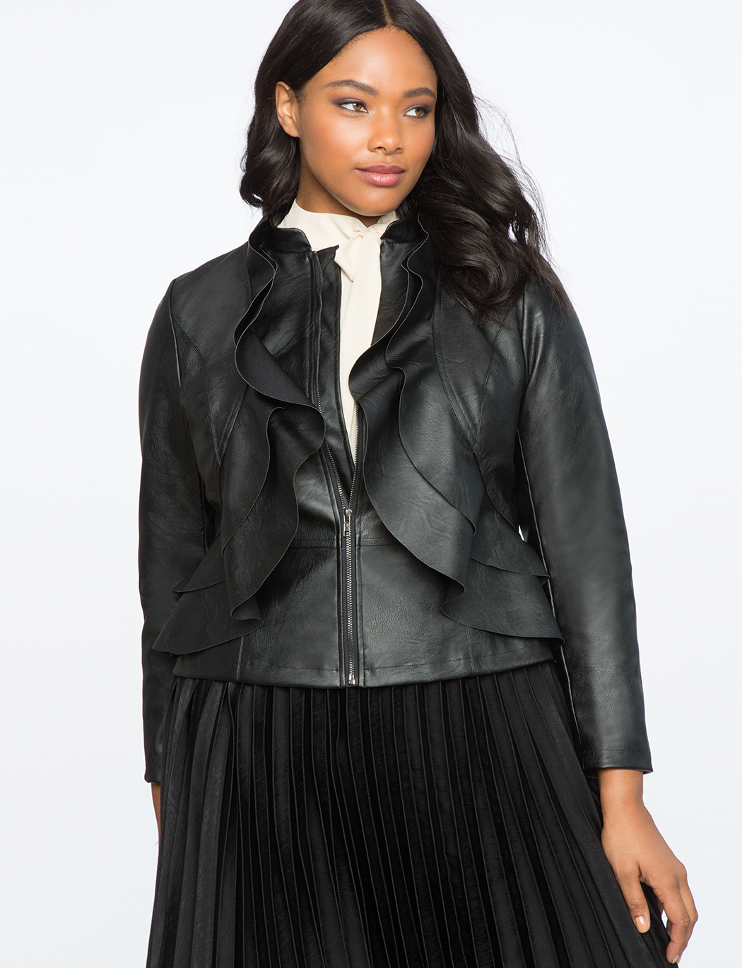 fdacff7cbf5f0 Faux Leather Ruffle Jacket
