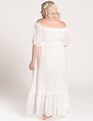 Dramatic Off the Shoulder Maxi Dress Soft White