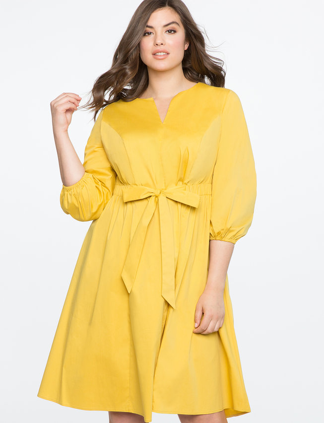 Tie Front Easy Dress With Puff Sleeve Womens Plus Size Dresses