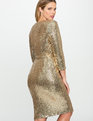 Studio Sequin Wrap Dress Gold