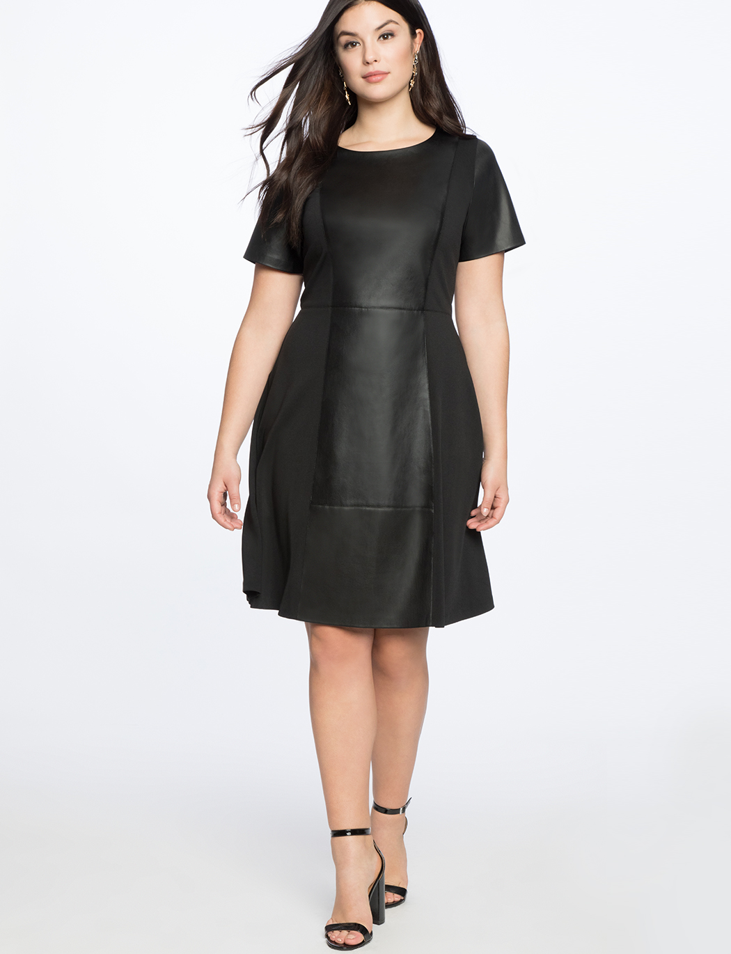 Faux Leather and Ponte Mix Dress | Women\'s Plus Size Dresses ...