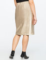 Studio Metallic Faux Leather Pencil Skirt Gold