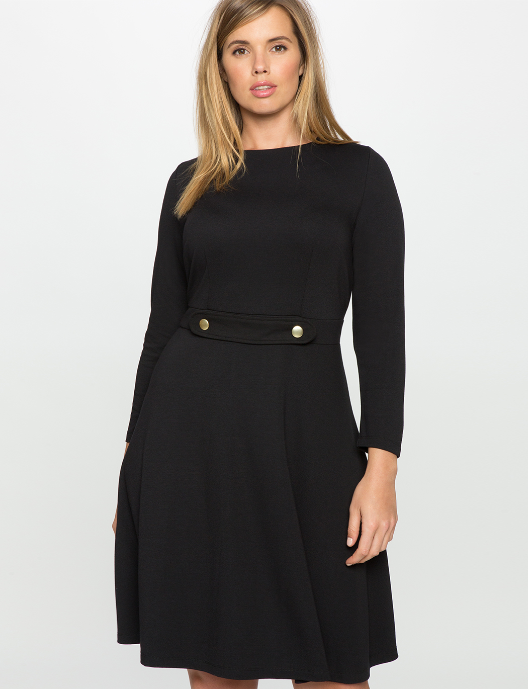 6707a6f5021 Long Sleeve Fit and Flare Dress with Button Detail | Women's Plus ...