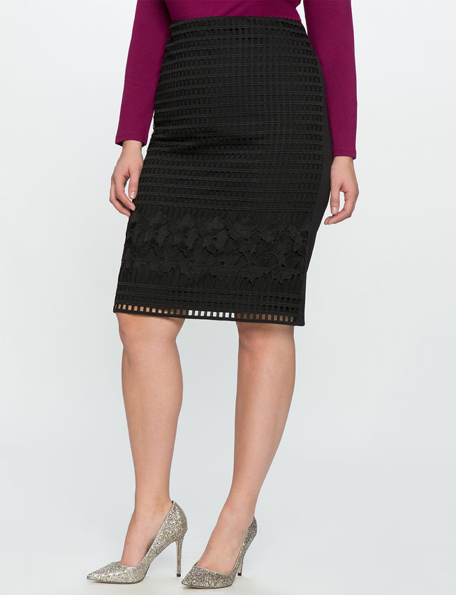 Mixed Lace Pencil Skirt