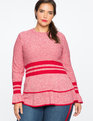 Marled Sweater With Sporty Stripe And Flounce Jester Red