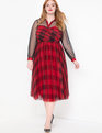 Plaid Two-fer Fit and Flare Dress Plaid Me Baby