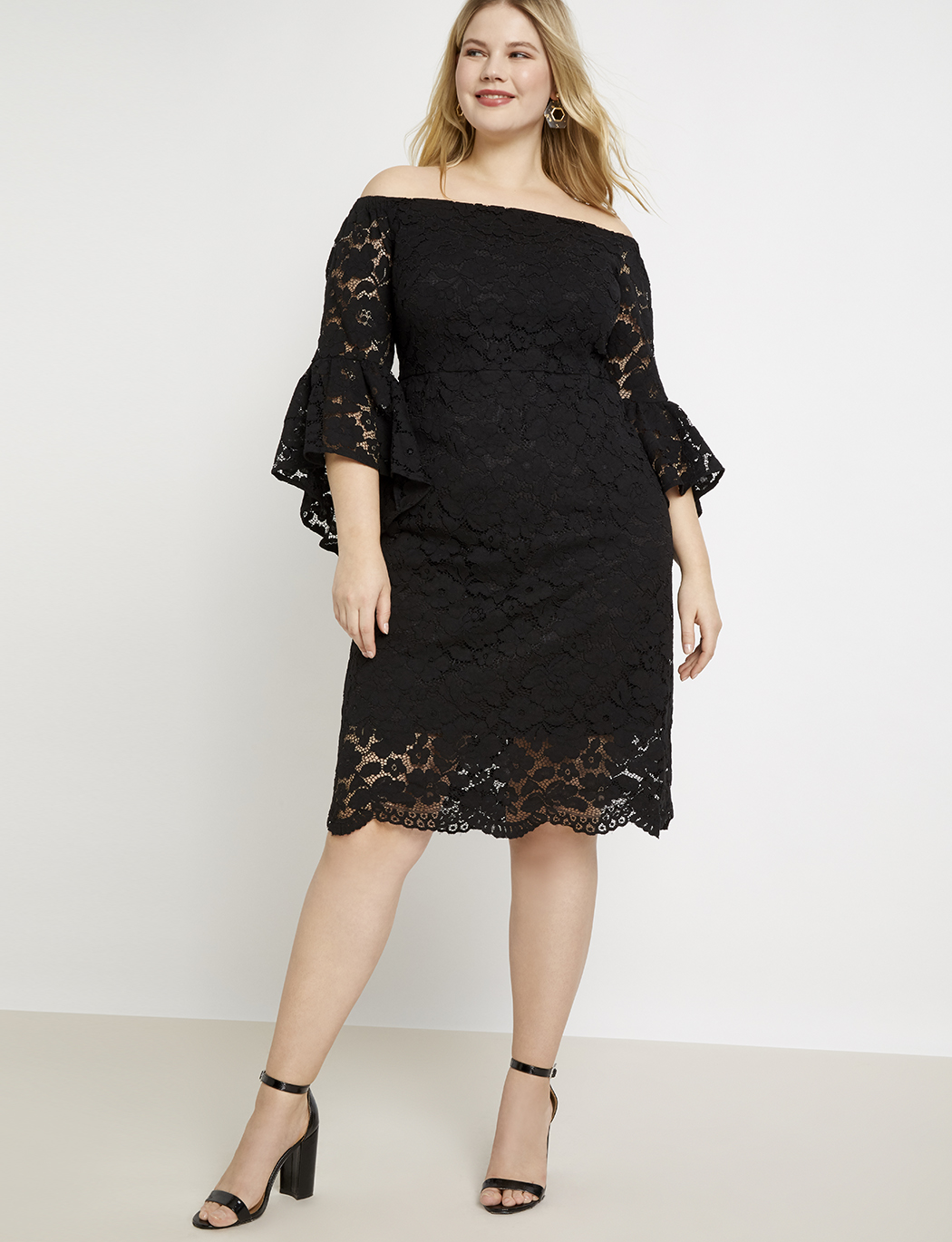 Off the Shoulder Flare Sleeve Lace Dress | Women\'s Plus Size Dresses |  ELOQUII