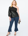 One Shoulder Faux Leather Top Black
