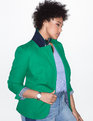 Quinn Blazer with Piping Navy with White Piping