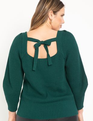 Square Neck Sweater With Puff Sleeve