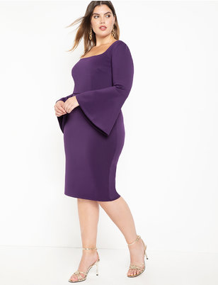 Square Neck Flare Sleeve Scuba Dress