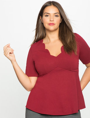 Scallop Neckline Empire Flare Top